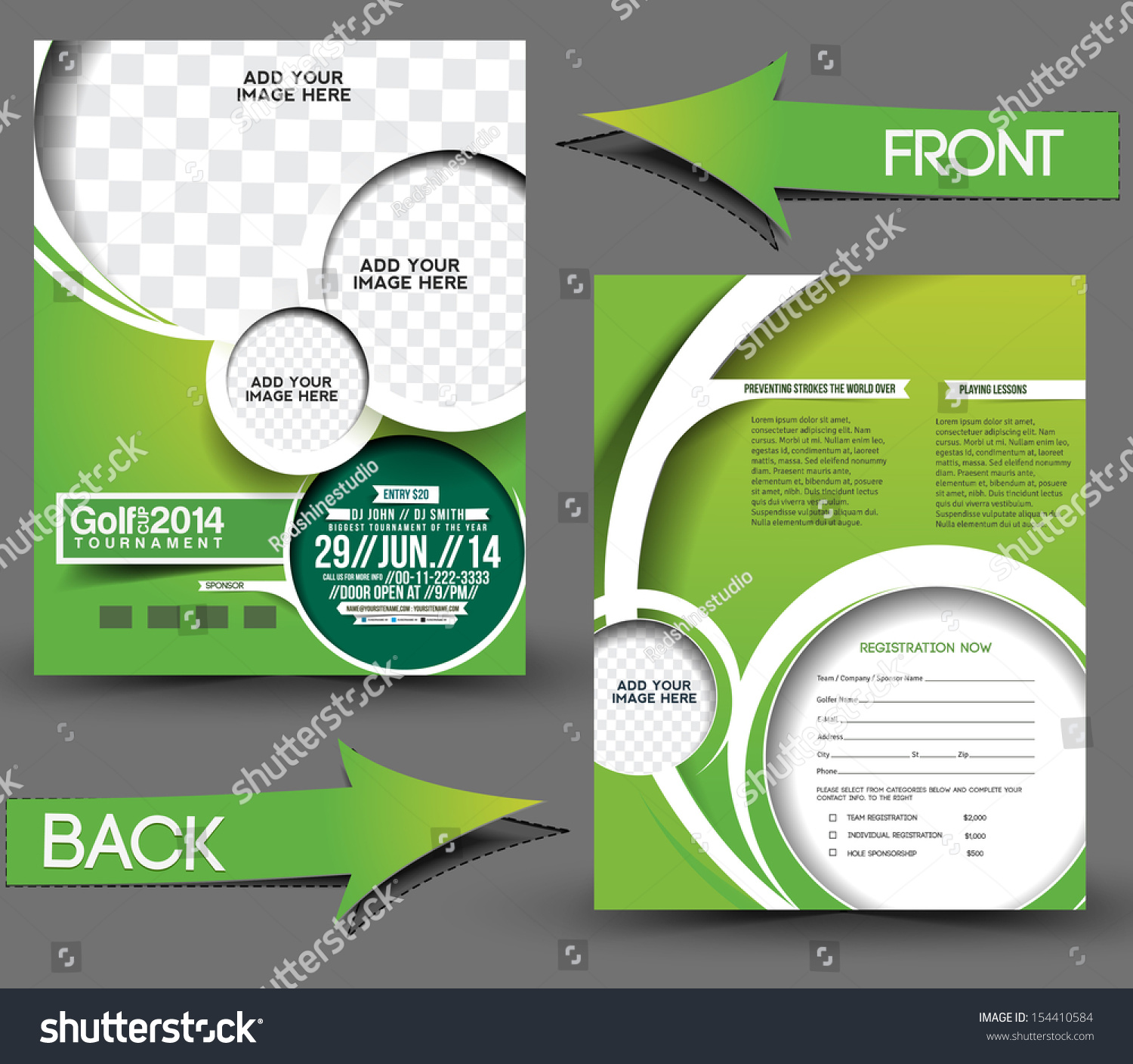 Royalty Free Golf Tournament Front Back Flyer 154410584 Stock
