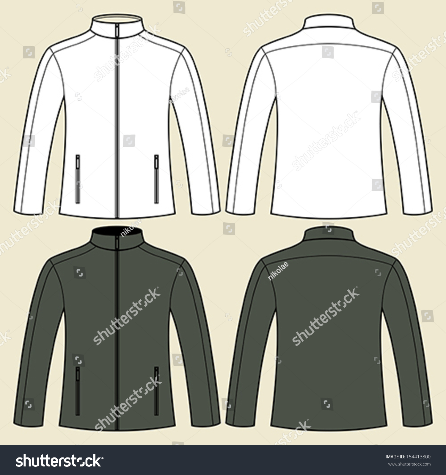 Royalty-free Jacket template in black and white -… #154413800 ...