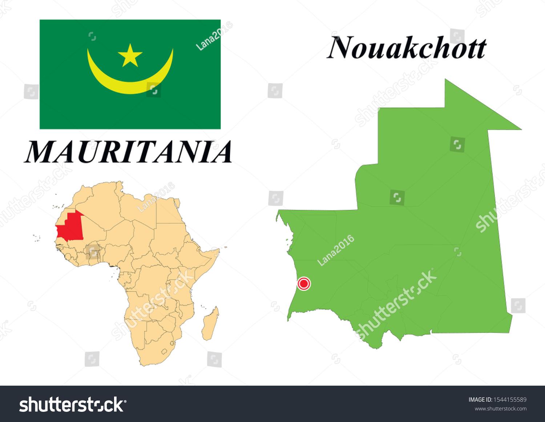 Islamic Republic Mauritania Capital Nouakchott Contour Stock Vektorgrafik Lizenzfrei 1544155589
