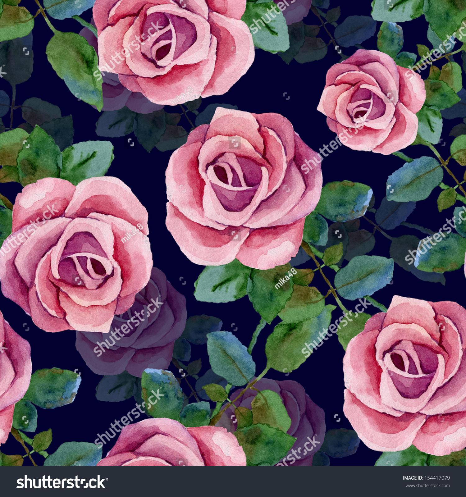 dark blue seamless background pink roses stock illustration 154417079 shutterstock. Black Bedroom Furniture Sets. Home Design Ideas