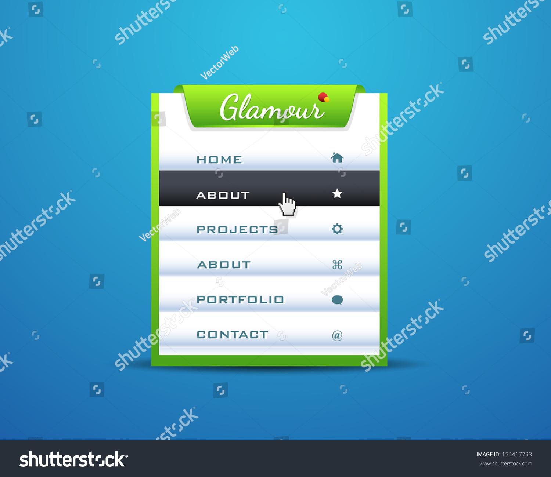 Vector Vertical Header Web Menu Design Stock Vector 154417793 ...