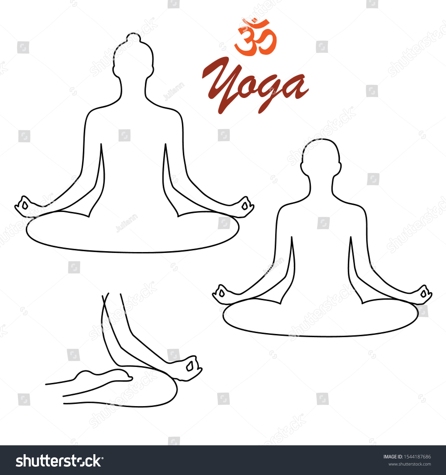 Yoga Person Relaxing Lotus Pose Yoga Stock Vector Royalty Free 1544187686