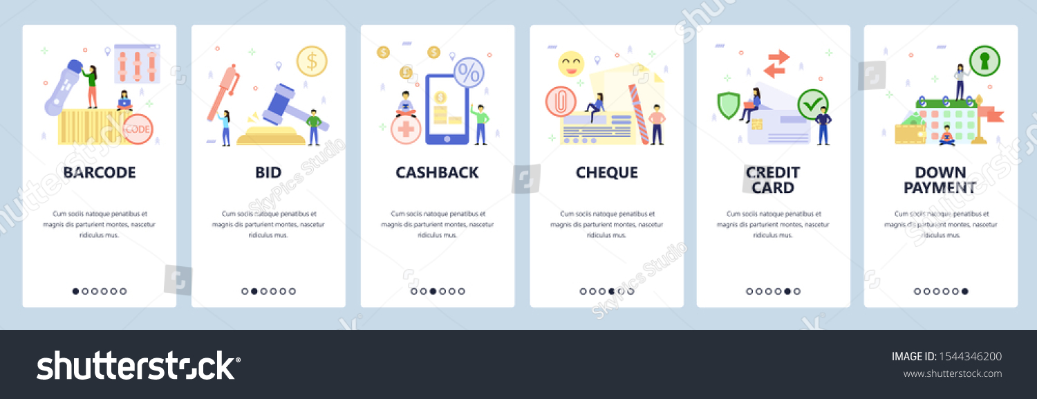 Mobile App Onboarding Screens Auction Bid Stock Vector (Royalty Within Auction Bid Cards Template