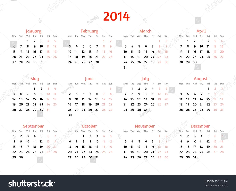 Calendar Flat Illustration : Year vector calendar flat style stock