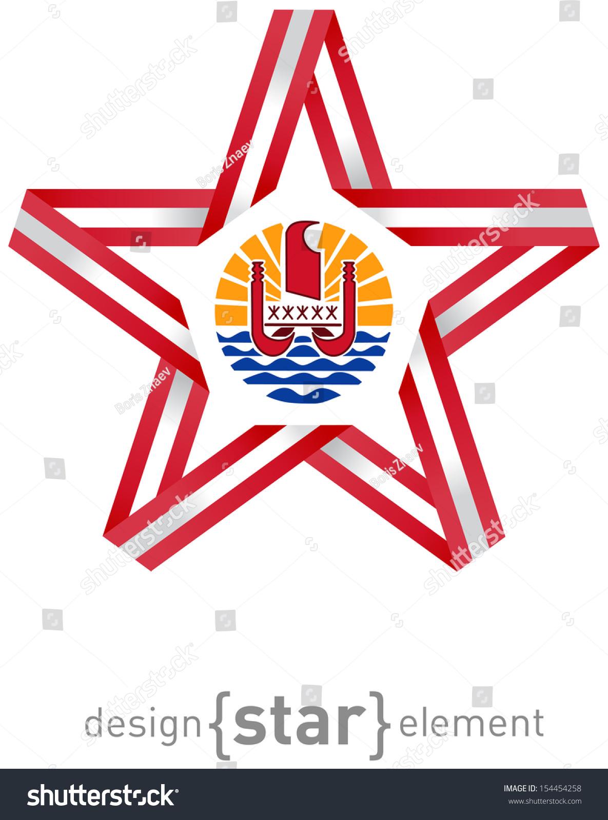 Star Flag French Polynesia Colors Symbols Stock Illustration