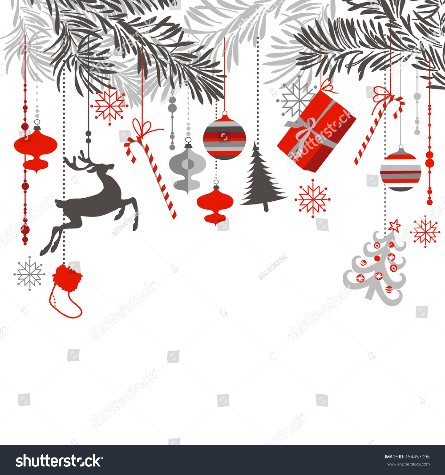 Christmas Background Grey Red White Black Stock Vektorgrafik