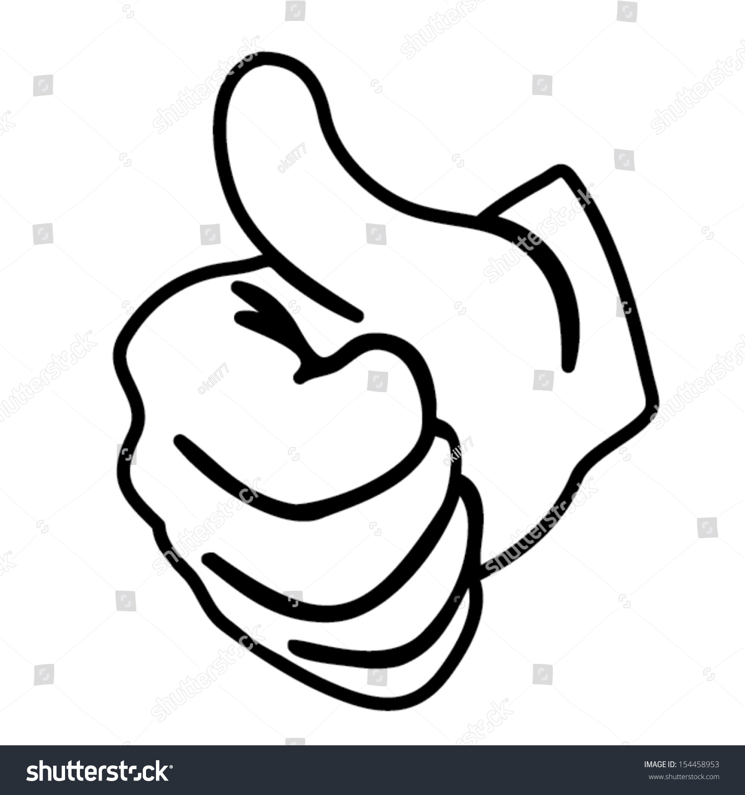 Hand Thumbs Vector Outline Stock Vector 154458953