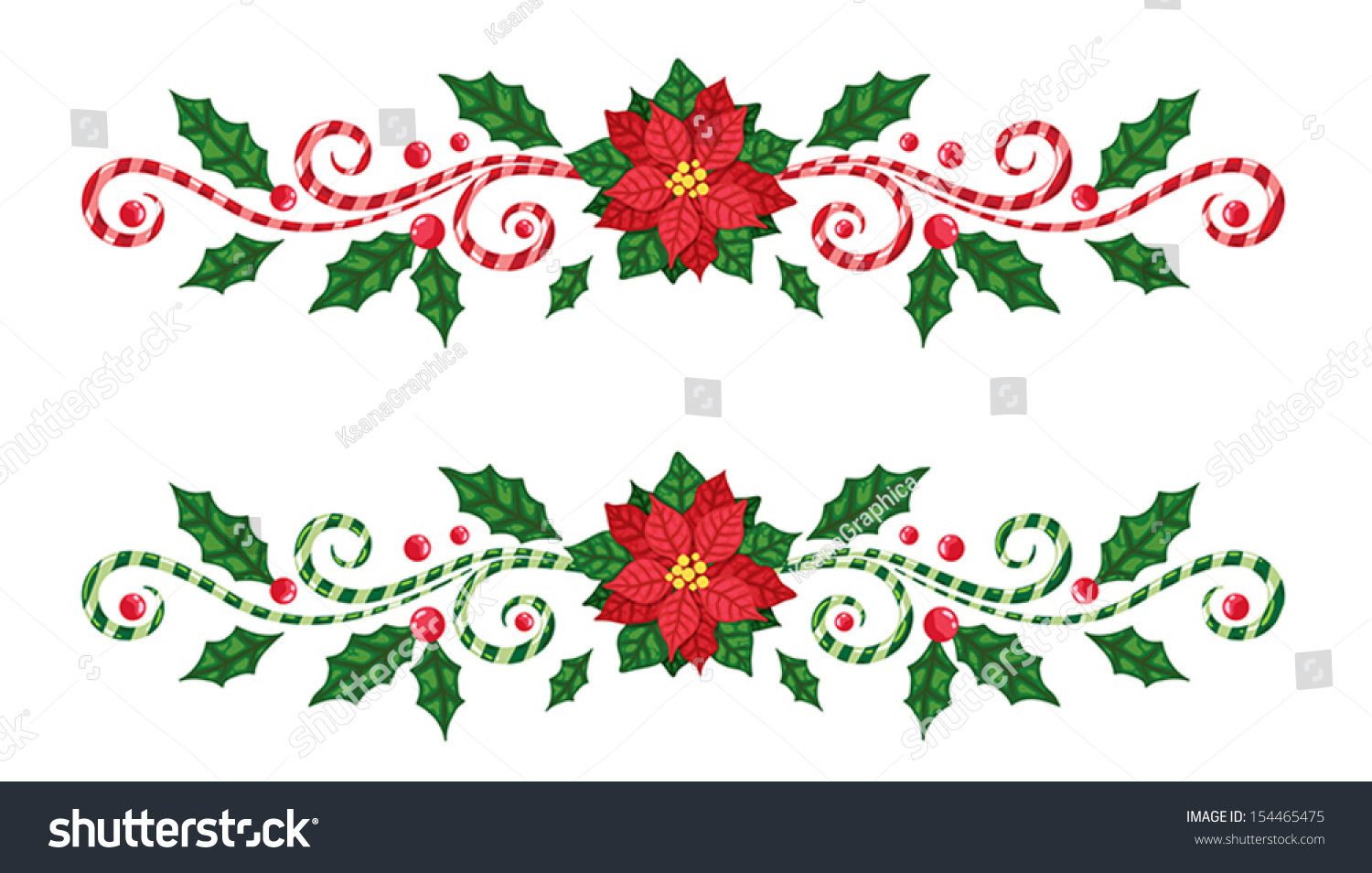 Christmas Borders Candy Cane Poinsettia Stock Vector ...
