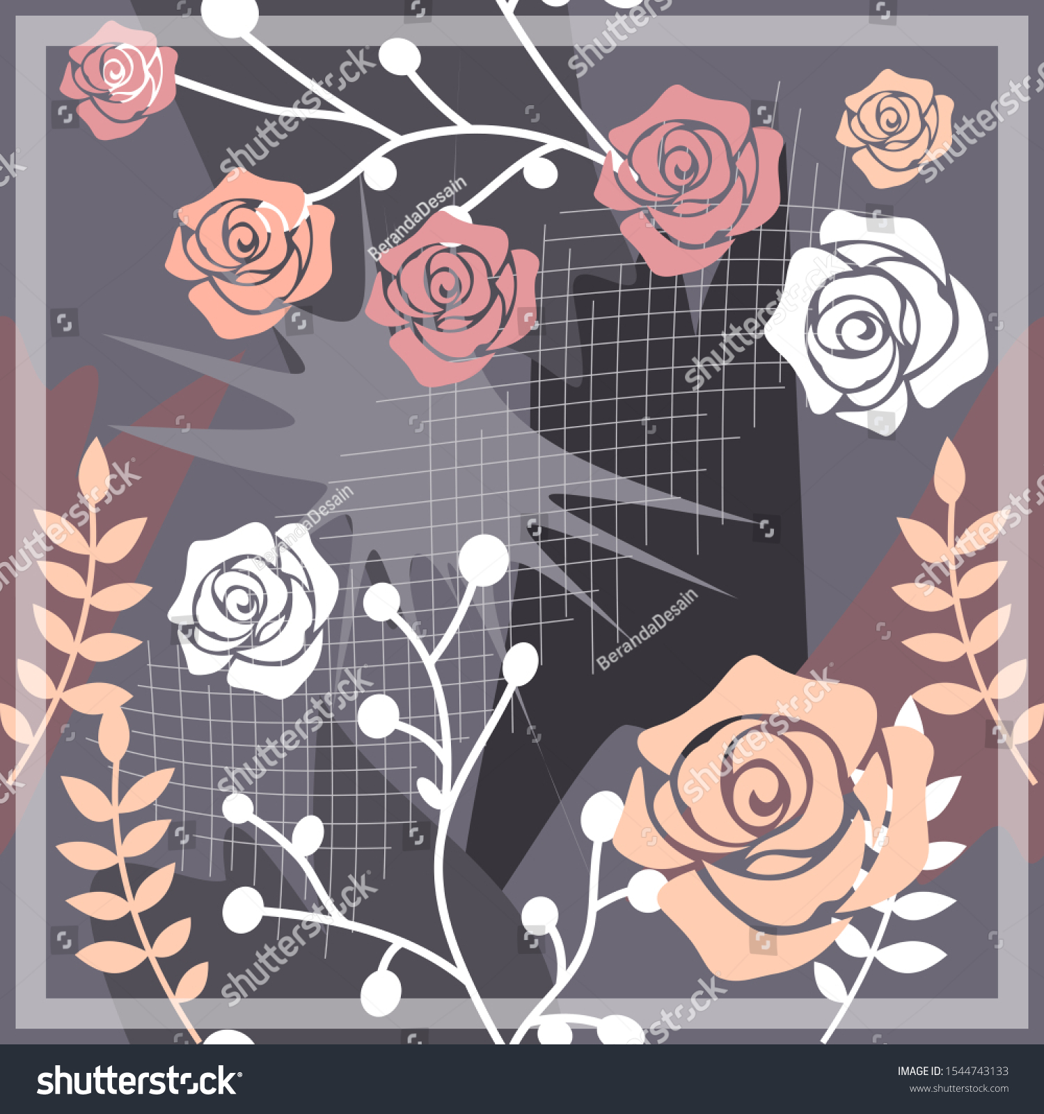 Hijab Design Floral Abstract Style Silk Stock Vector (Royalty Free