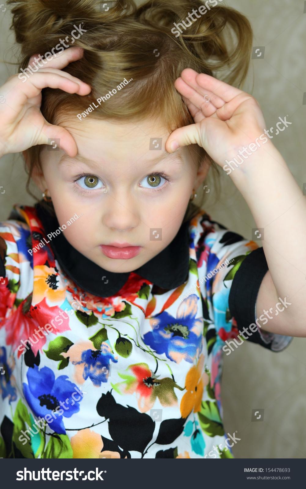 Little Girl Raised Her Eyebrows Fingers Stock Photo Edit Now