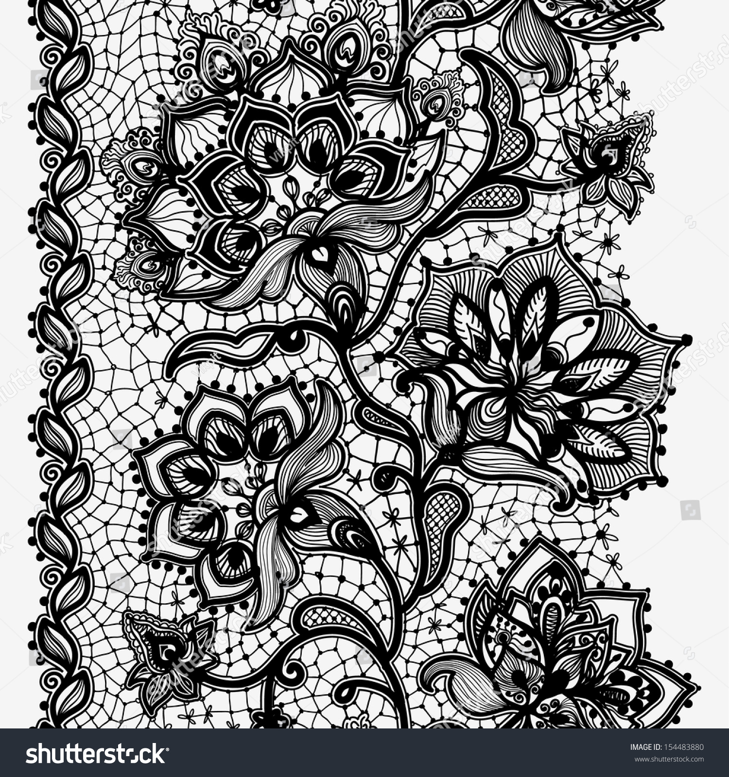 Lace Ribbon Vertical Seamless Pattern. Template frame design for card ...