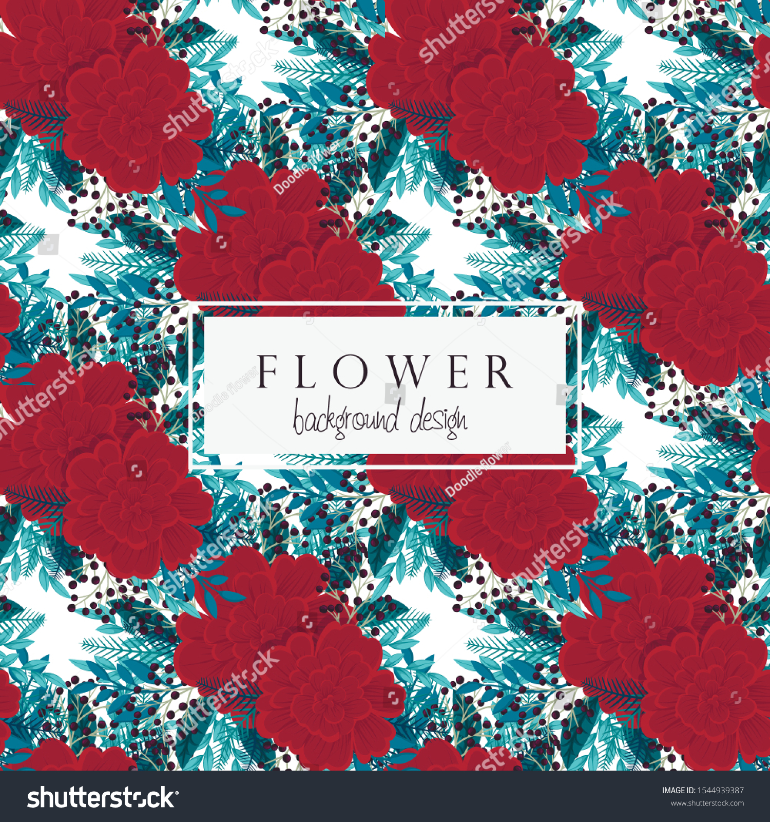 Red Mint Floral Background Seamless Pattern Stock Vector Royalty