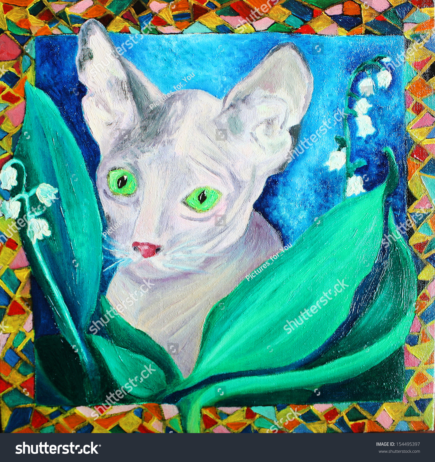 Sphinx beautiful grey cat green eyes stock illustration 154495397 beautiful grey cat with green eyes and lily of the valley flowers and leaves izmirmasajfo