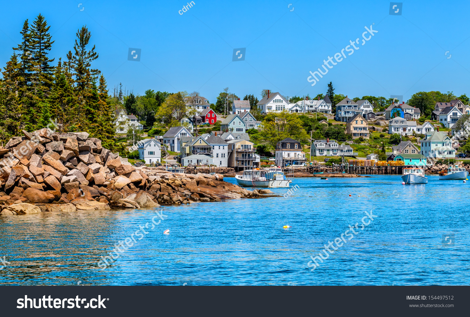 Picturesque New England Fishing Village Waterfront Stock Photo 154497512 - Shutterstock