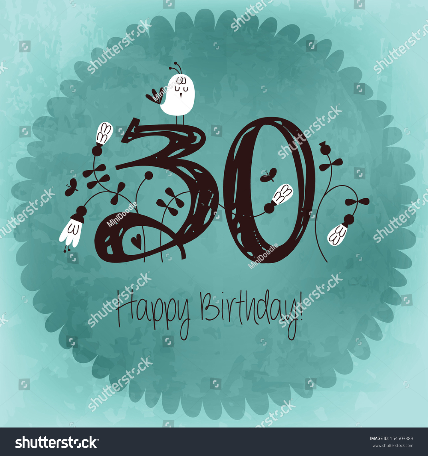 vintage happy birthday card invitation number stock vector, Birthday card