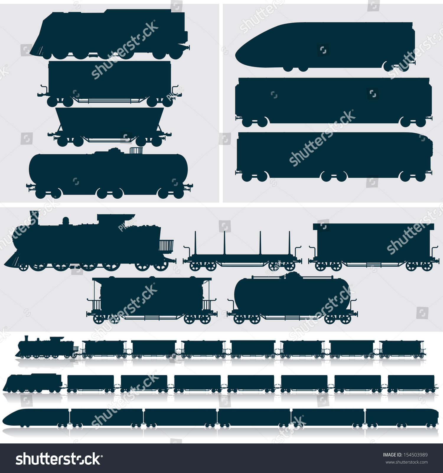Vector Silhouettes Modern Obsolete Vintage Railroad Stock ...