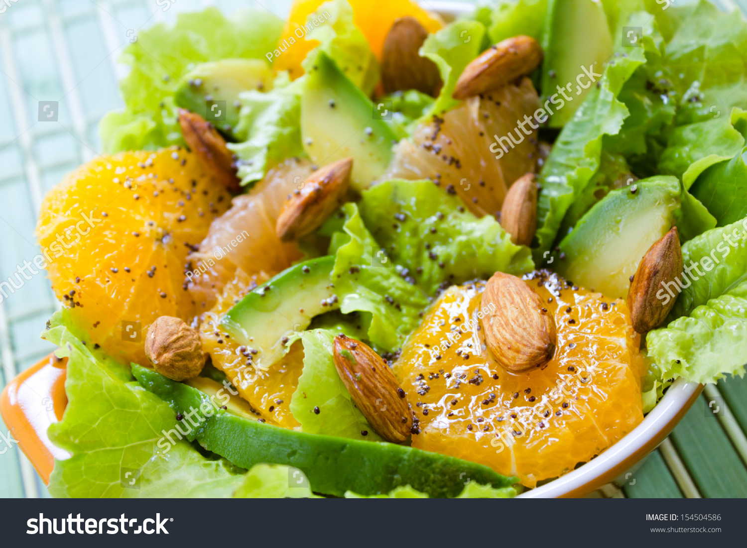 Summery Citrus Salad With Almonds And Lemon Poppy Seed Dressing Stock ...