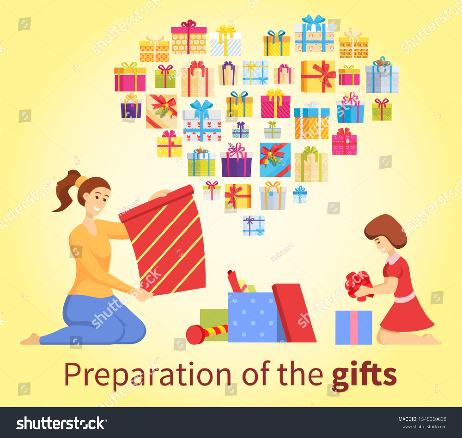 Postcard Preparation Christmas Gifts Mother Daughter Stock Vector Royalty Free 1545060608