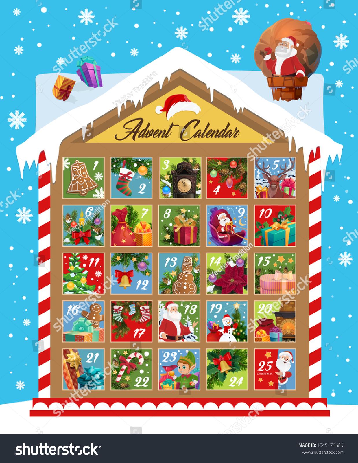 2021 Christmas Candy Countdown Calendar Christmas Advent Calendar Vector Design Xmas Stock Vector Royalty Free 1545174689