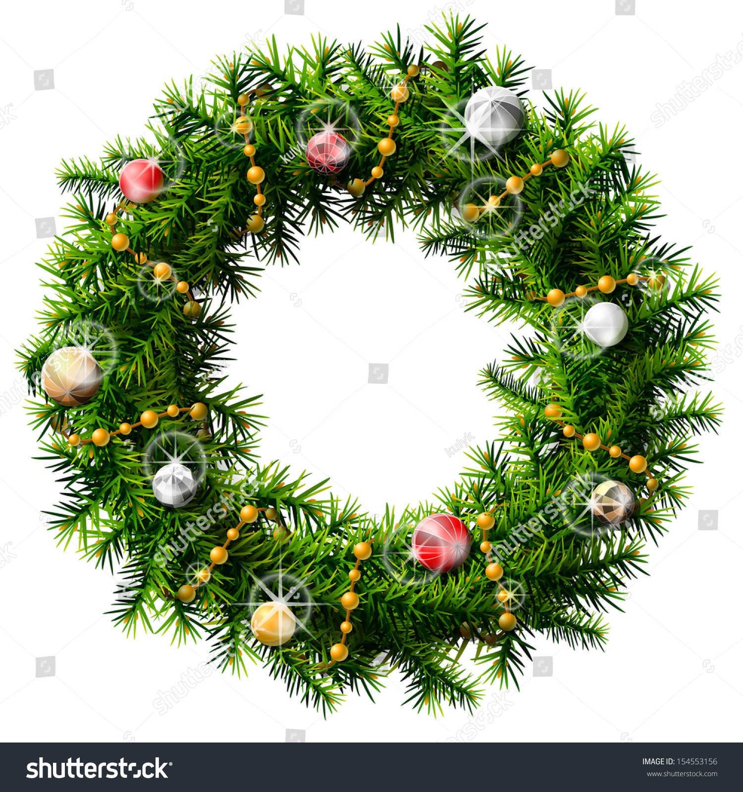 Pine Branches For Decoration Christmas Wreath With Decorative Beads And Balls Wreath Of Pine