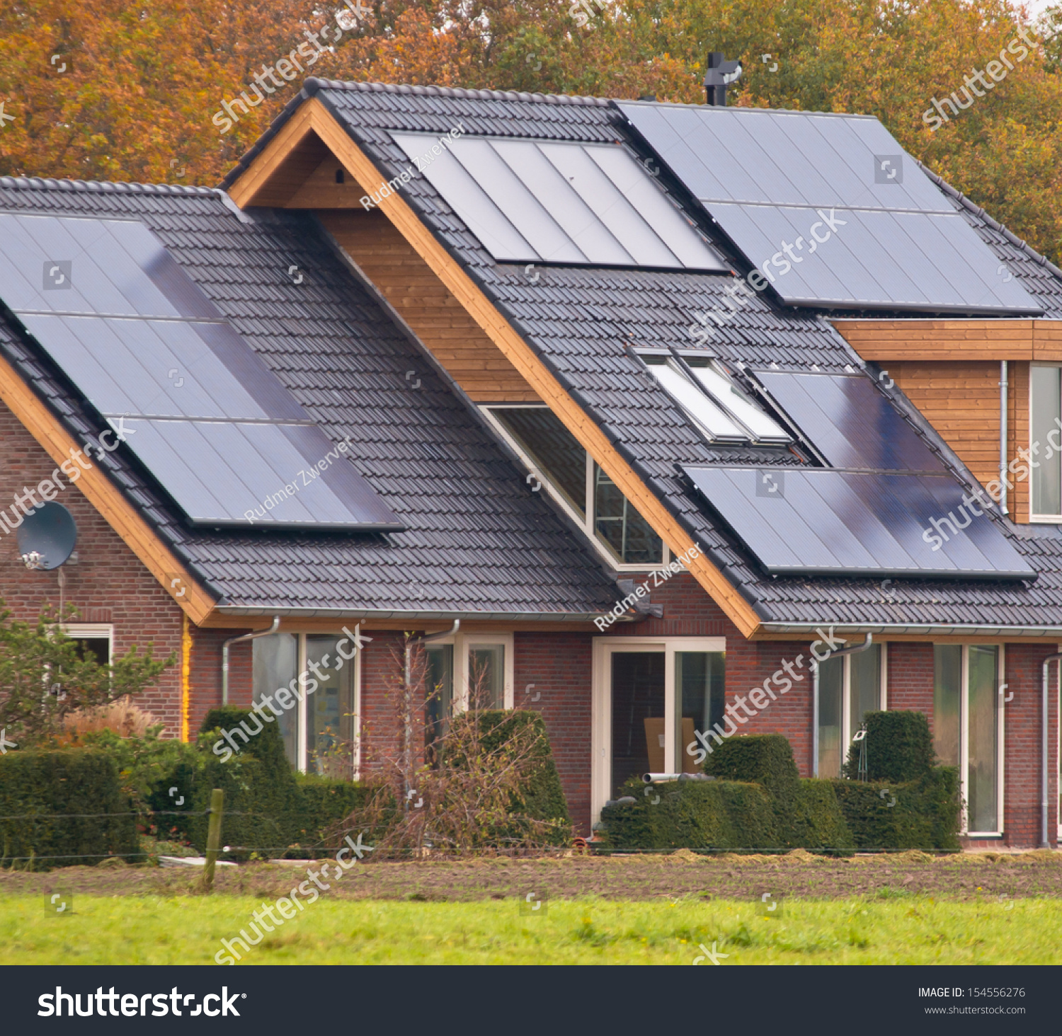 Photovoltaic Solar Panels On Newly Built Modern House