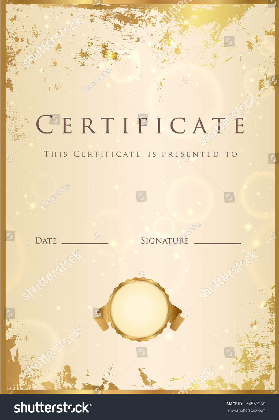 Certificate diploma completion template background gold stock certificate diploma of completion template background with gold grunge texture frame yelopaper Image collections
