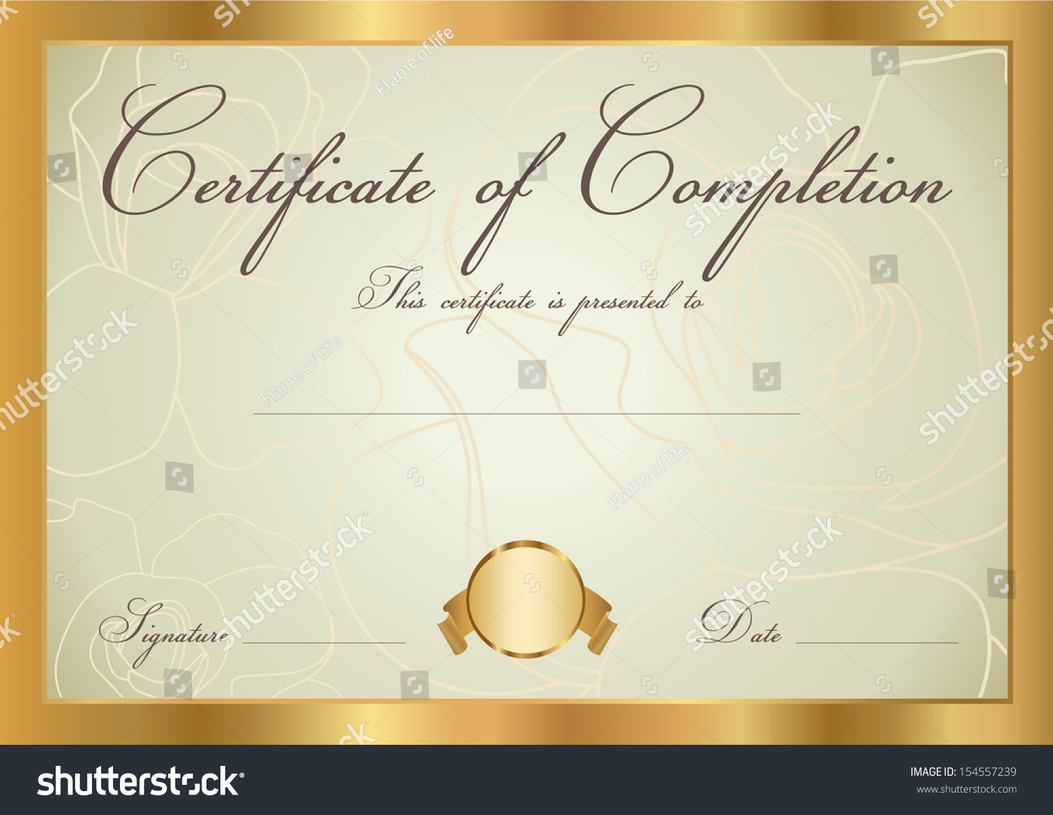 Certificate diploma completion design template background stock certificate diploma of completion design template background floral scroll yadclub Gallery