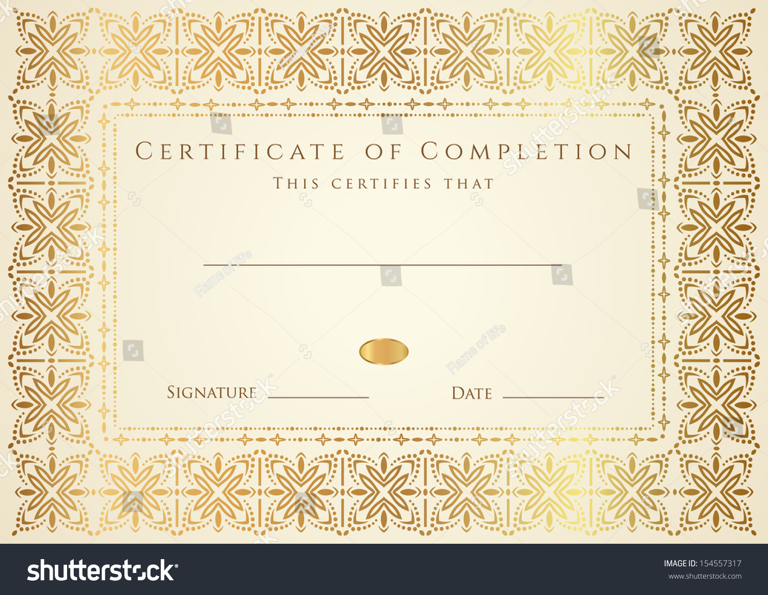 Certificate diploma completion design template background stock certificate diploma of completion design template background gold floral scroll yadclub Gallery