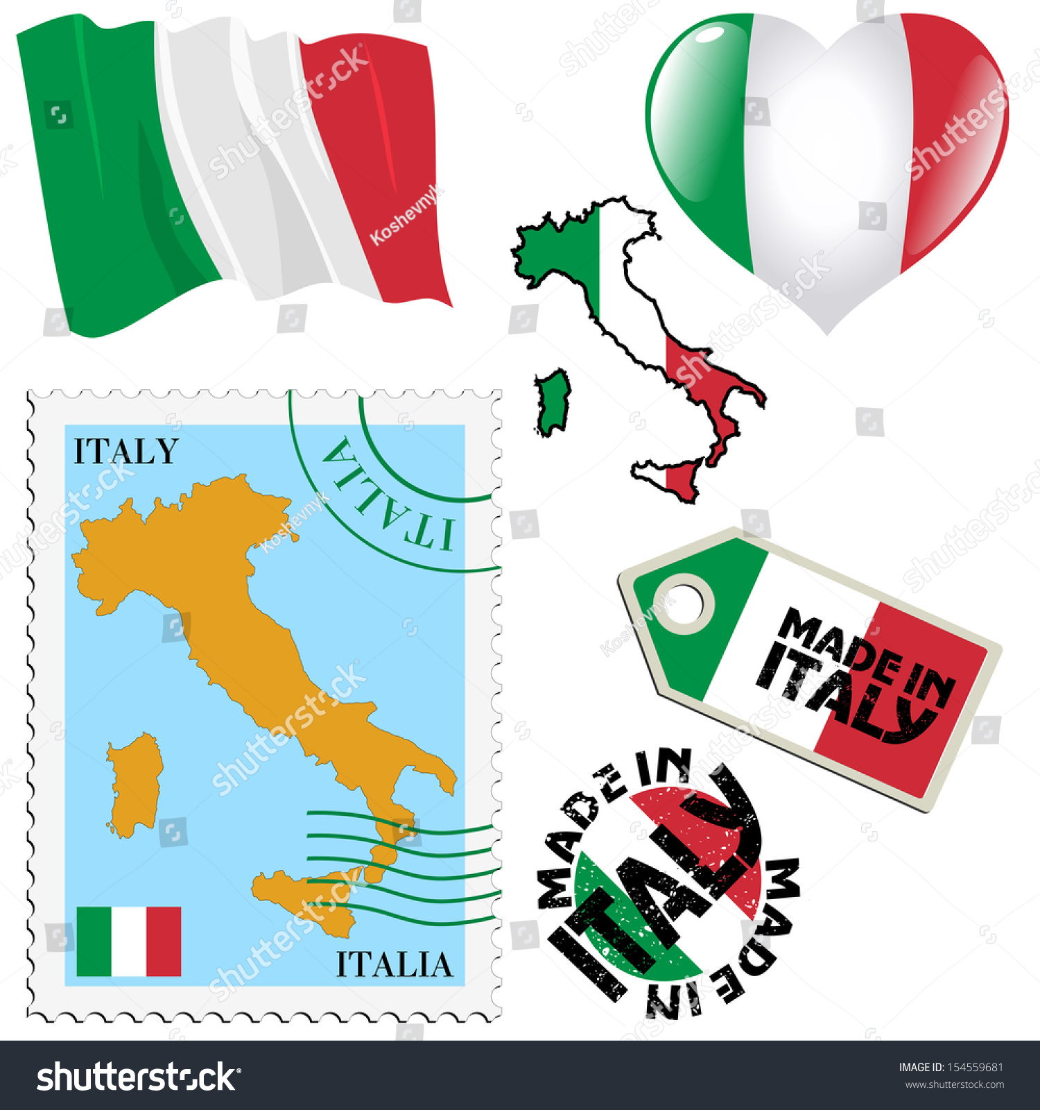Set Different Symbols National Colours Italy Stock Vector 154559681