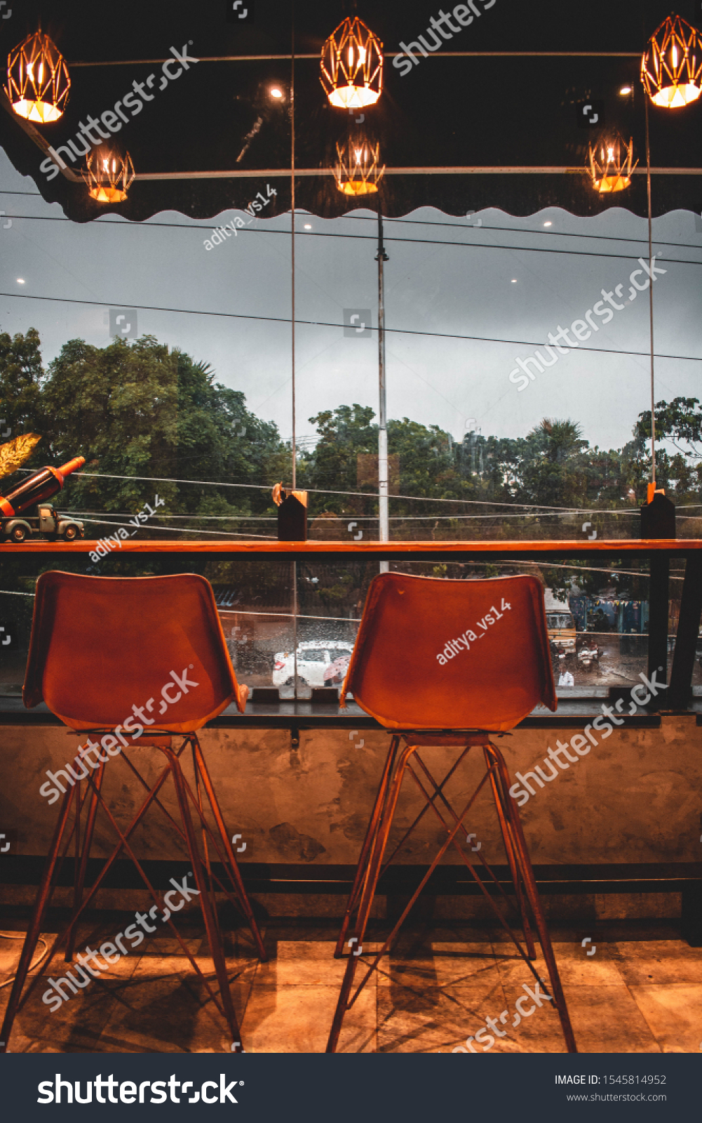 Aesthetic Interiors Cafe View City Background Stock Photo Edit Now 1545814952