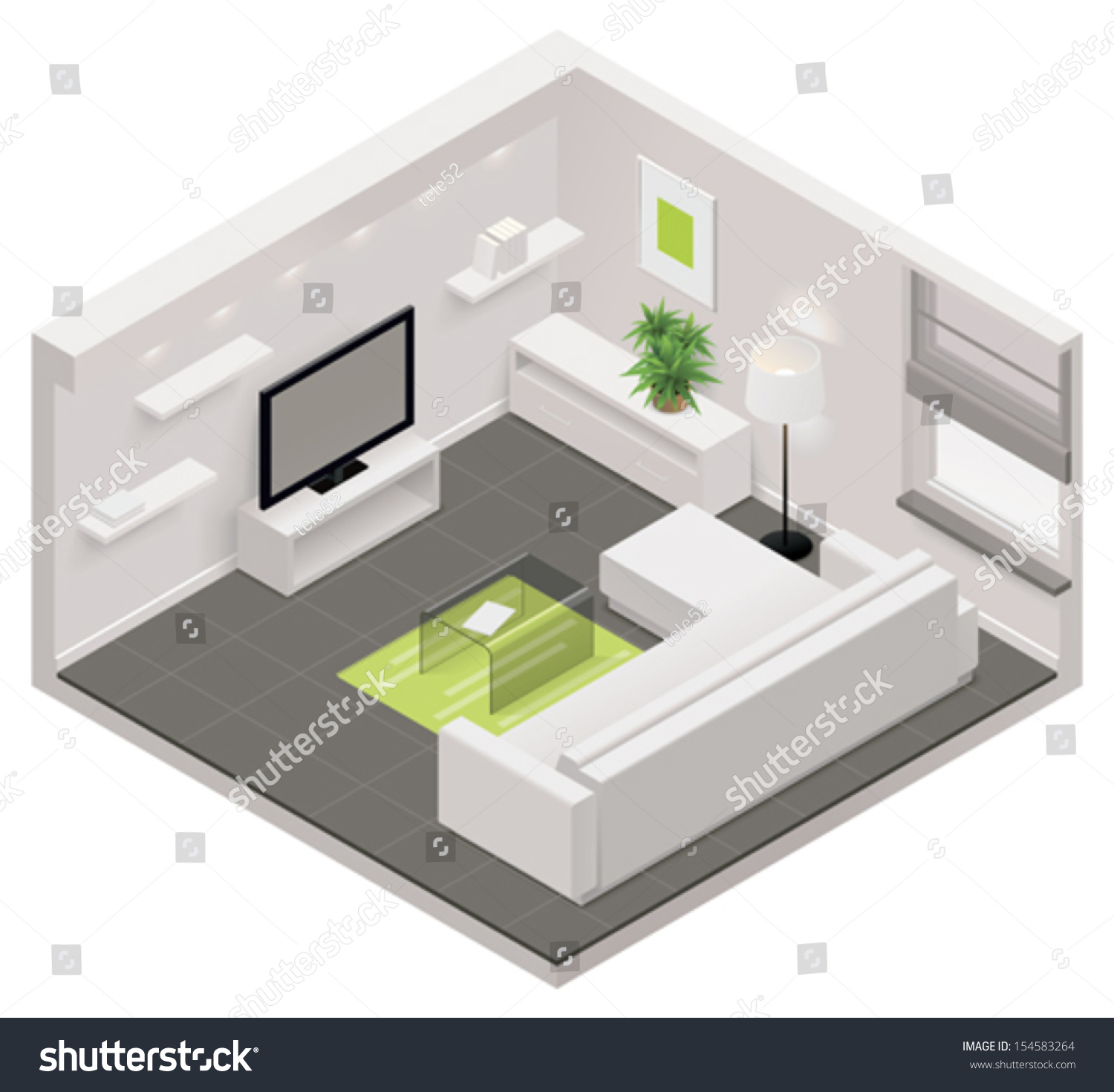Vector isometric living room icon stock vector 154583264 for Room design vector