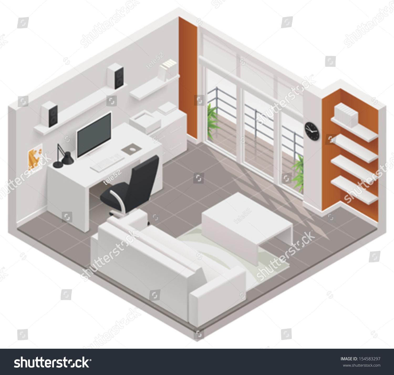 Vector Isometric Rooms Icon Stock Vector: Vector Isometric Working Room Icon