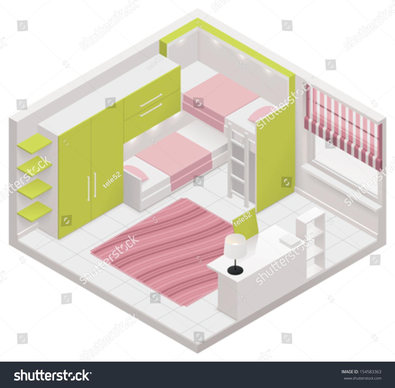 Vector Isometric Rooms Icon Stock Vector: Vector Isometric Children Room Icon Stock Vector 154583363