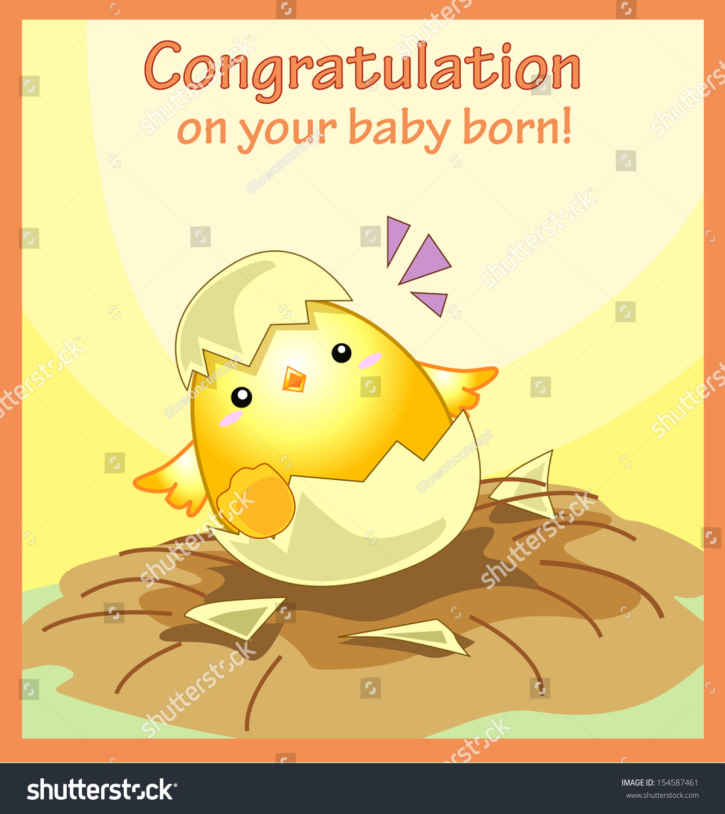 Congratulation On Your Baby Born Greeting Stock Vector Royalty Free