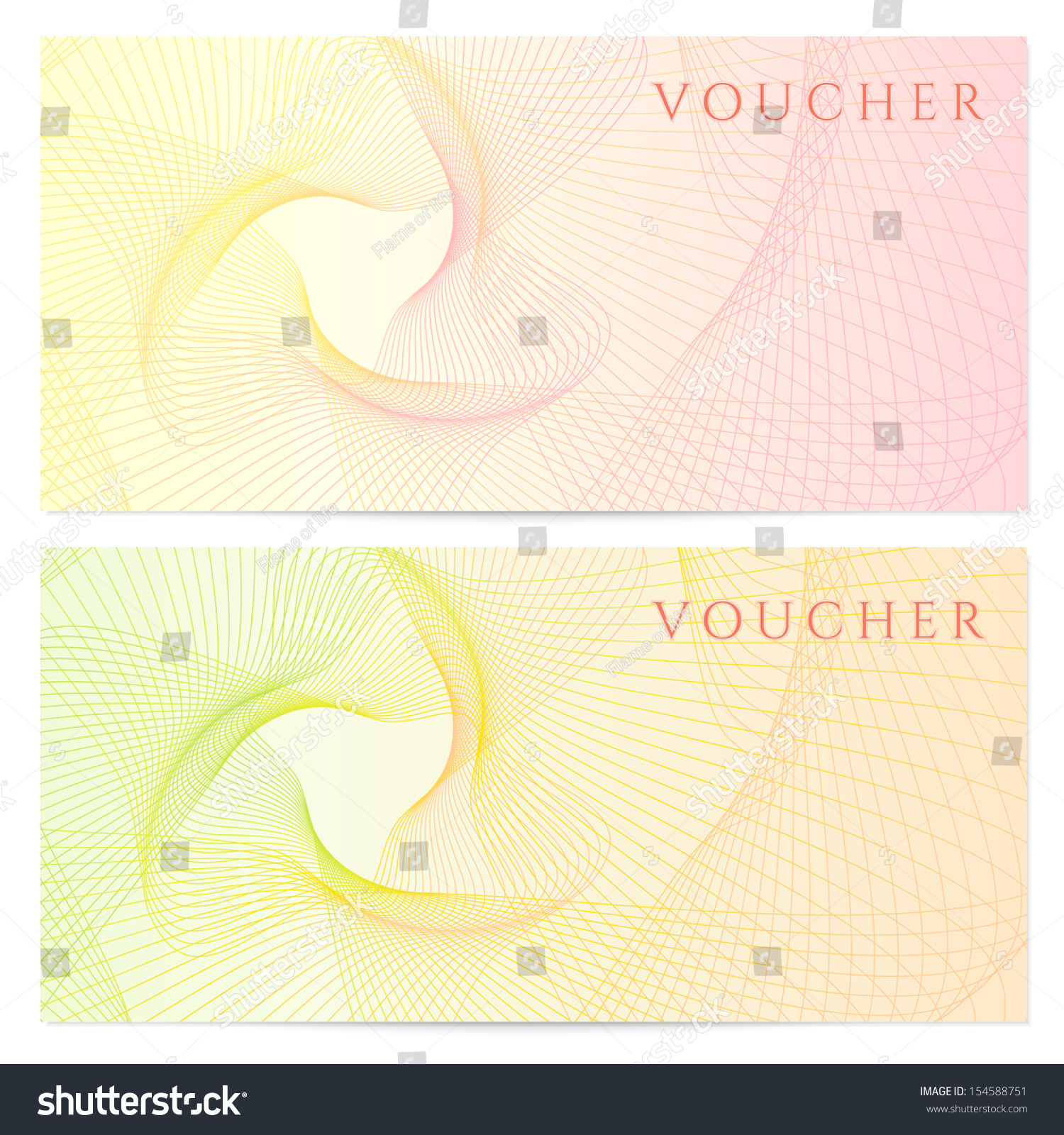 Voucher gift certificate coupon template colorful stock for Cheque voucher template