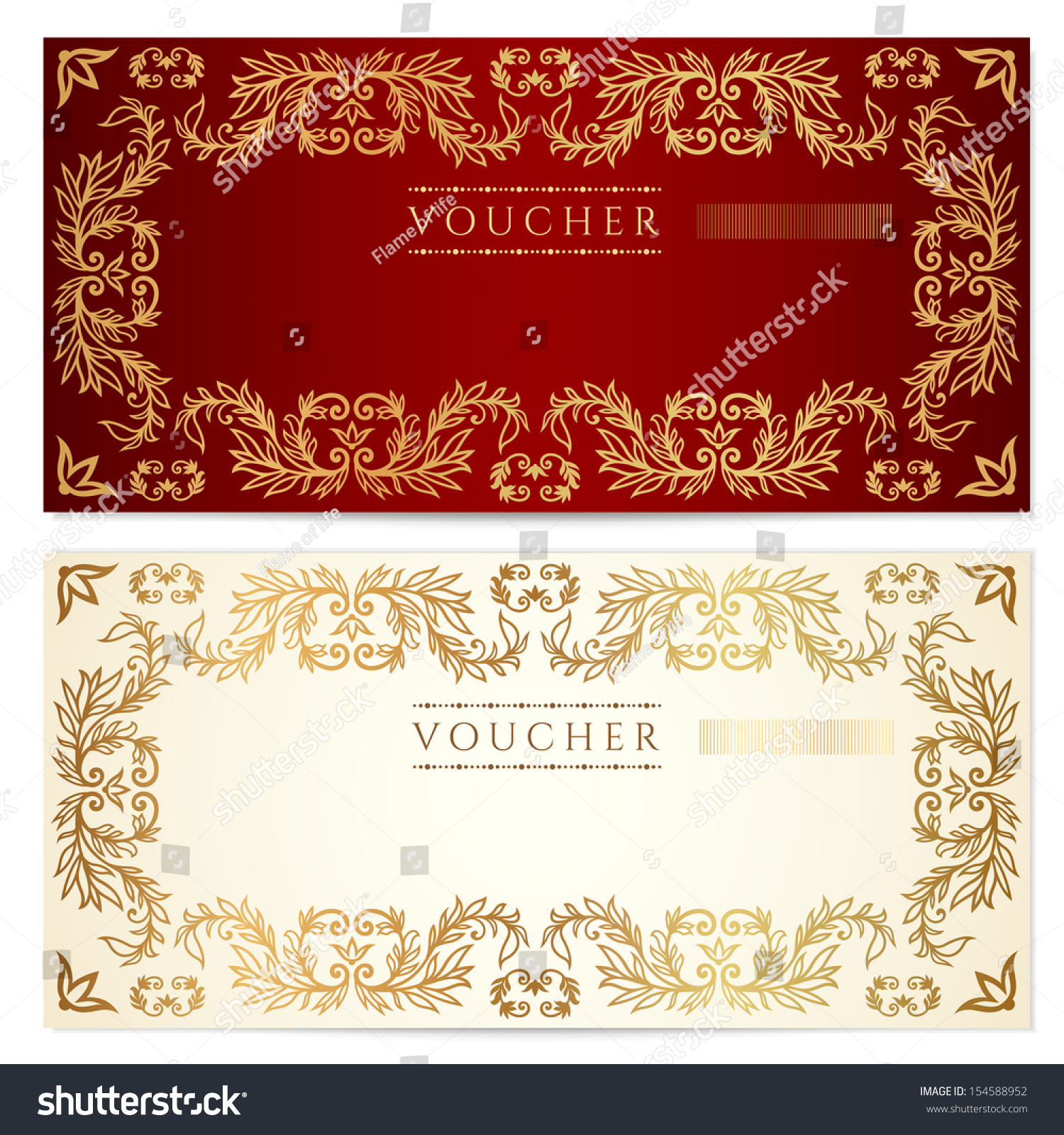 Voucher gift certificate coupon template scroll stock illustration voucher gift certificate coupon template with scroll floral pattern watermark yadclub Image collections