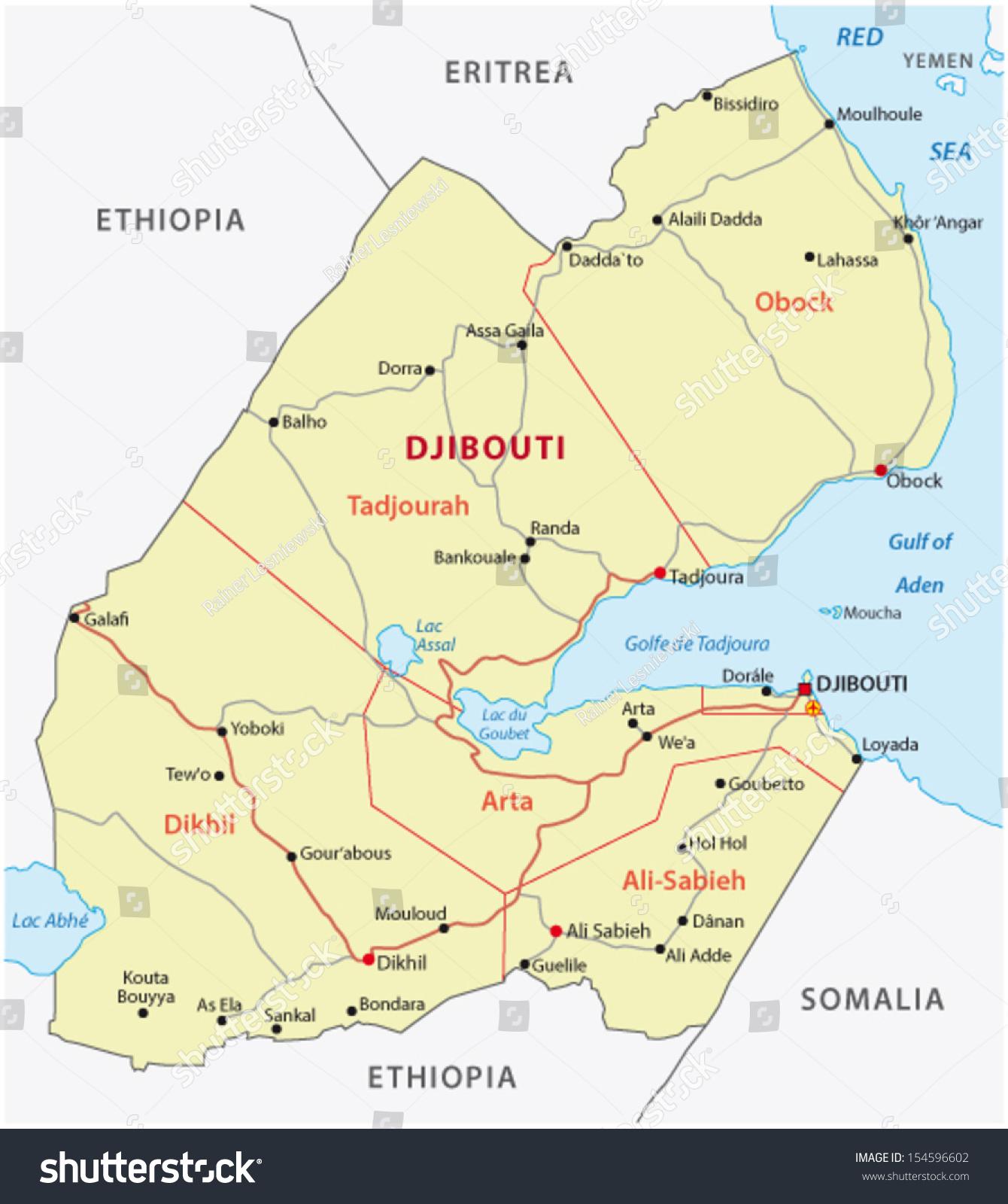 Djibouti Road Map Stock Vector 154596602 Shutterstock