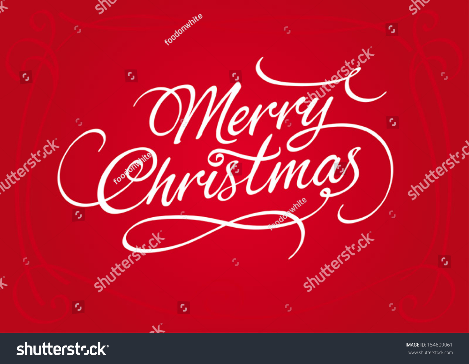Merry Christmas Script Calligraphic Type Lettering Stock Vector