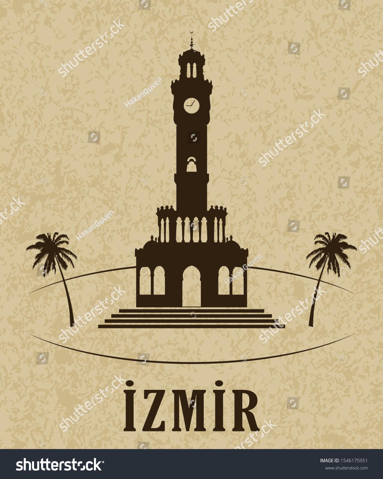 Turkey Izmir Clock Tower Symbol Izmir Stock Vector Royalty Free 1546175951