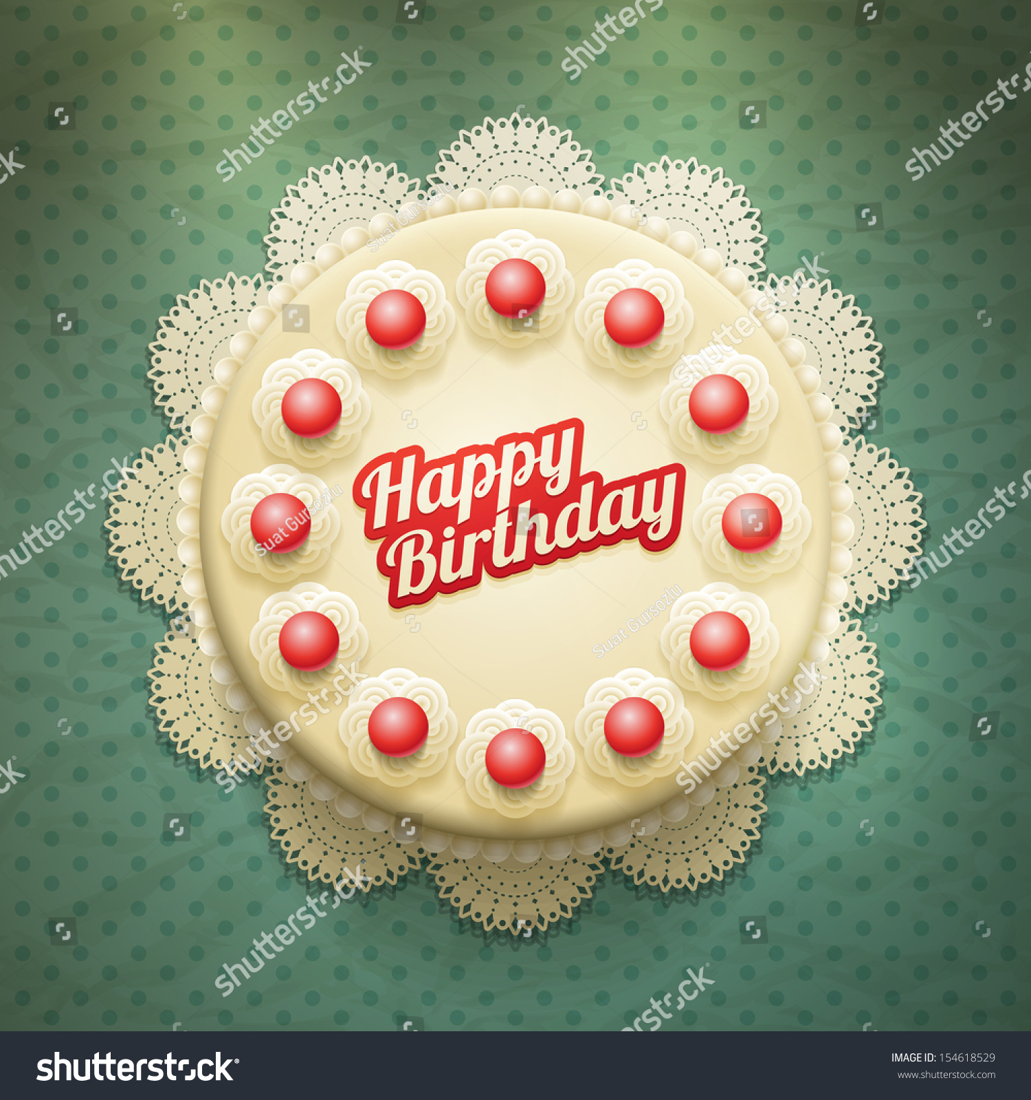 Vector White Birthday Cake With Cream And Cherries View From Above Elements Are Layered