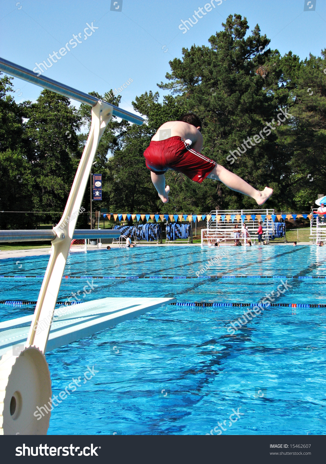 Boy Doing Funny Jump Off Diving Stock Photo 15462607 Shutterstock