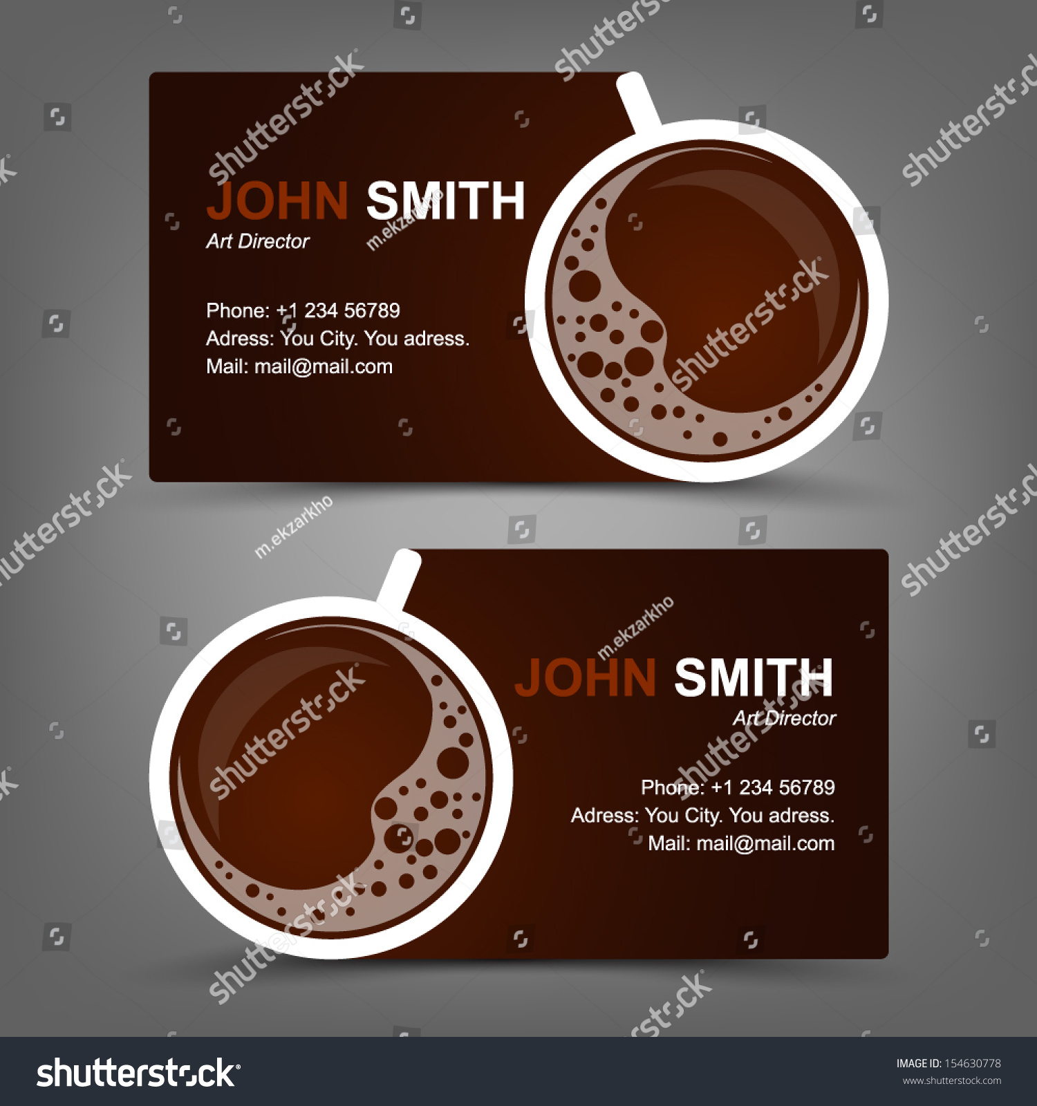 Business Card Coffee Stock Vector HD (Royalty Free) 154630778 ...