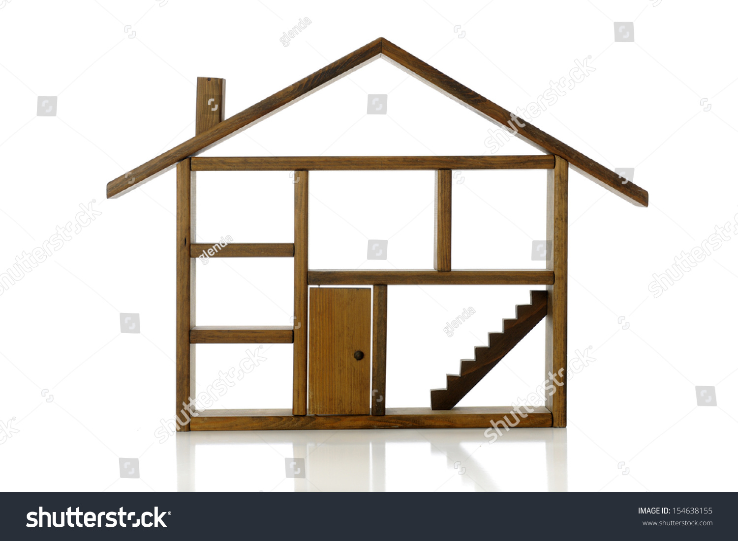 House outline with rooms - A Wooden Outline Of A House Showing Rooms Chimney Stairs And A Closed Front