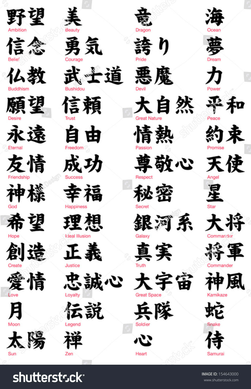 Japanese Kanji vol 2 / serif font Stock Photo 154643000 - Avopix com