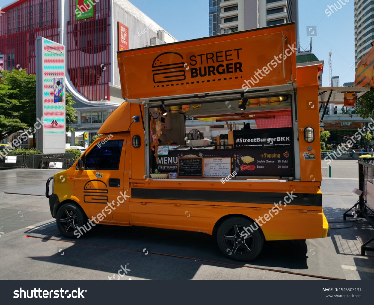 BANGKOK, THAILAND - OCTOBER 31, 2019: A food truck is parked outside of shopping mall CentralWorld on October 31, 2019 in Thai capital Bangkok