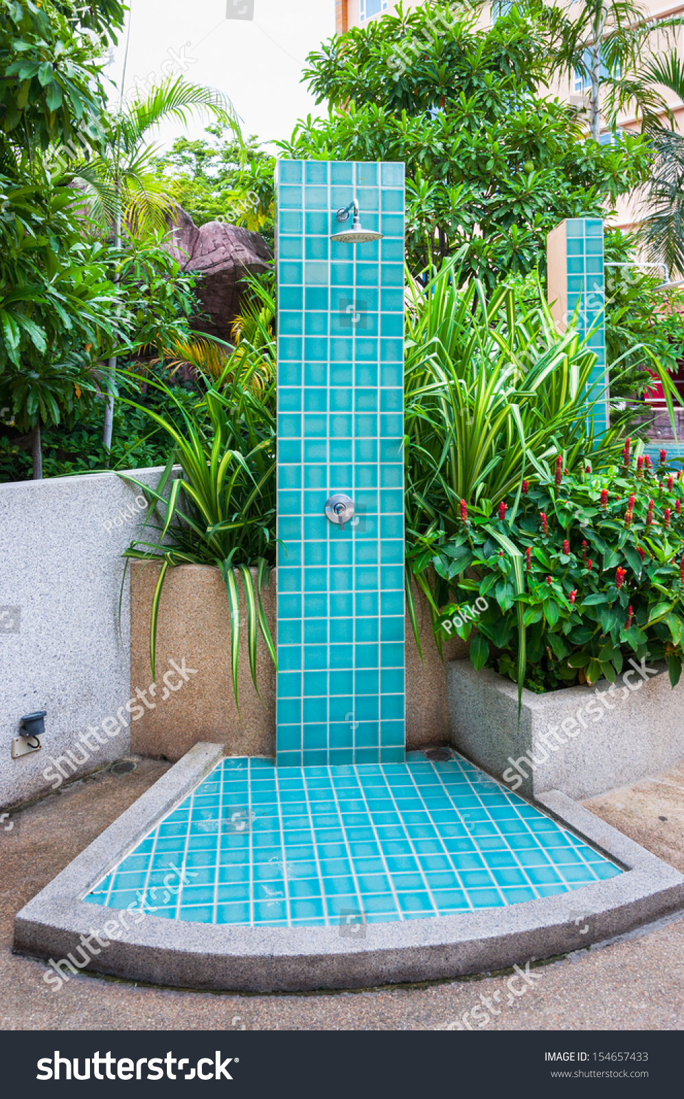 Swimming Pool Showering : Outdoor shower swimming pool stock photo