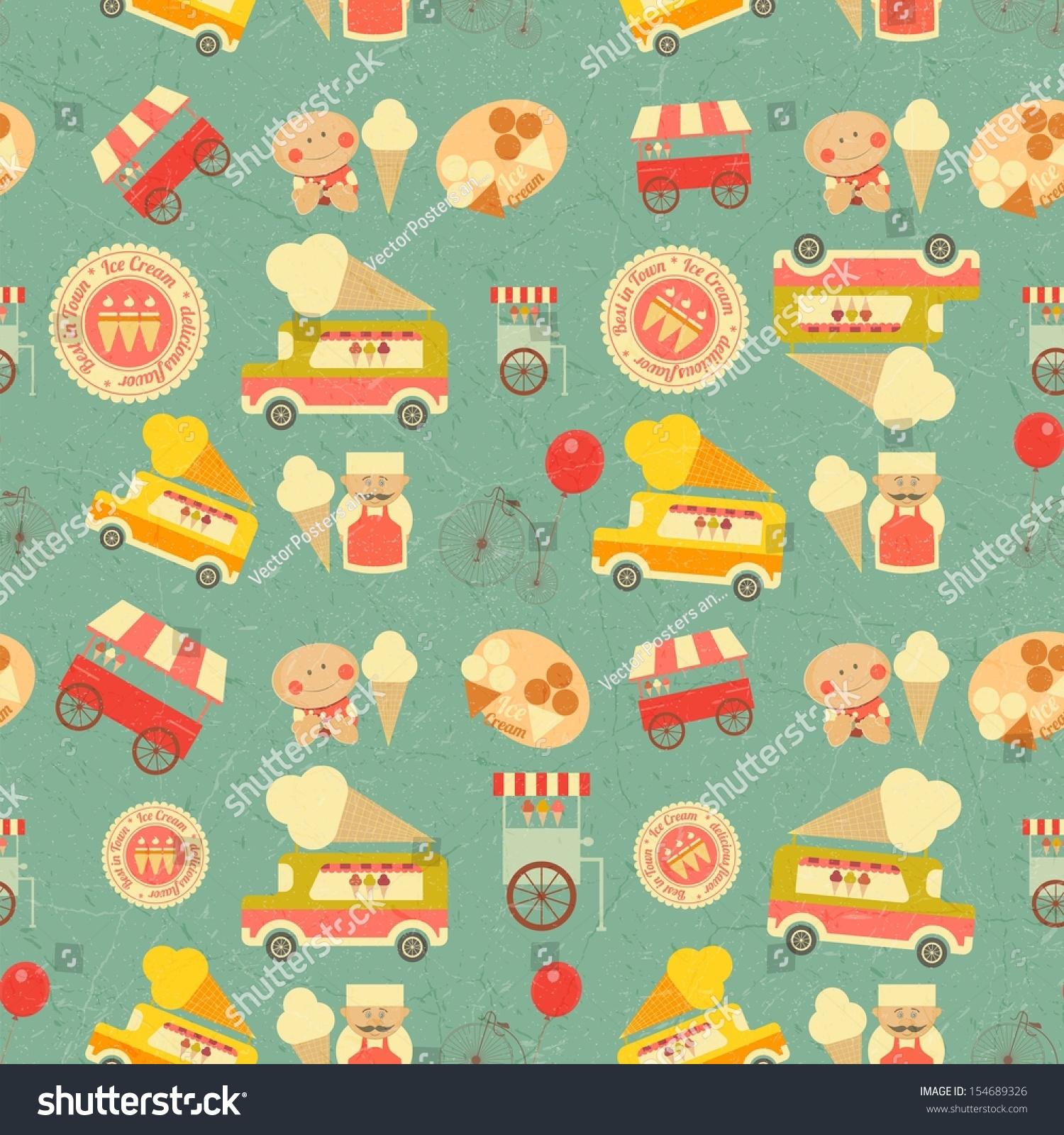 Seamless Ice Cream Background Vintage Style: Ice Cream Dessert Vintage Seamless Background In Retro