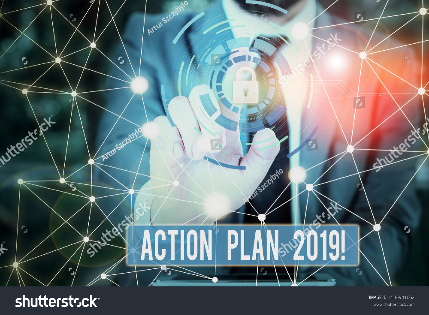 Writing note showing Action Plan 2019. Business photo showcasing proposed strategy or course of actions for current year Picture photo network scheme with modern smart device. #1546941662