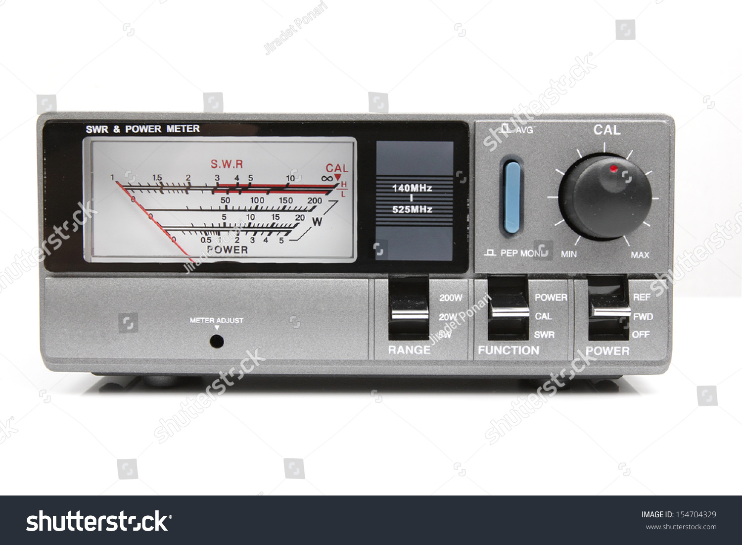 watt meter for amateur radio white background stock photo. Black Bedroom Furniture Sets. Home Design Ideas