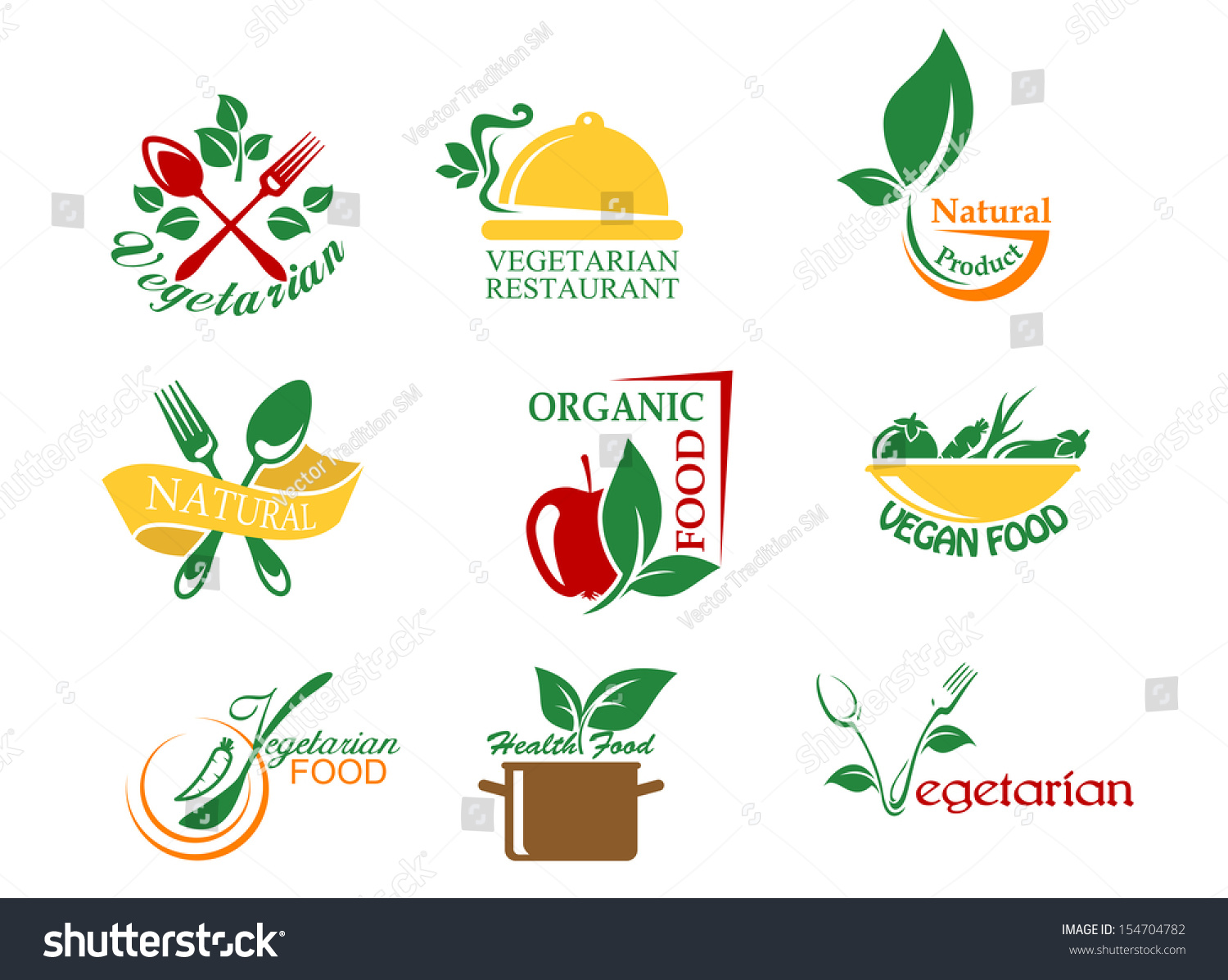 vegetarian food symbols fruits vegetables design stock